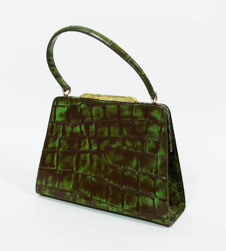 Christian Lacroix Vintage Croc Embossed Handbag For Sale 2