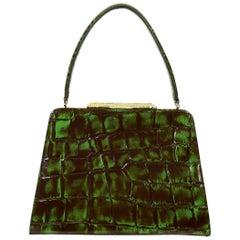 Christian Lacroix Vintage Croc Embossed Handbag