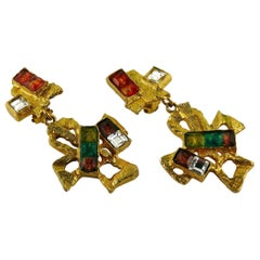 Christian Lacroix Vintage Cross Dangling Earrings Rainbow Collection