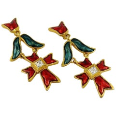 Christian Lacroix Vintage Enamel Cross Dangling Earrings