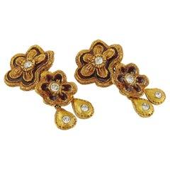 Christian Lacroix Vintage Enamel Flowers Dangling Earrings
