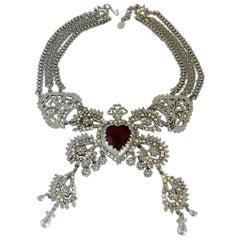 Christian Lacroix Vintage Ex Voto Sacred Heart Necklace