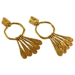 Christian Lacroix Vintage Extra Long Gold Toned Dangling Earrings