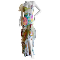 Christian Lacroix Vintage Floral Silk Chiffon Strapless Lace Trim Evening Dress