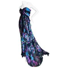 Christian Lacroix Vintage Floral Silk Evening Dress with Jet Bead Trim