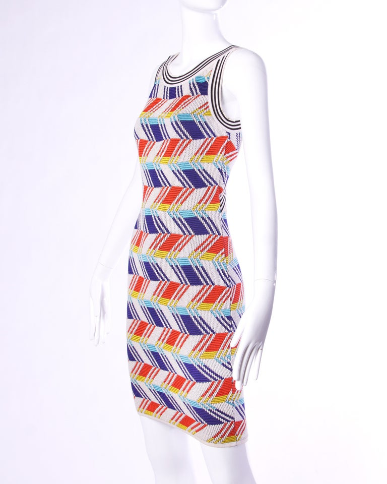 Christian Lacroix Vintage Geometric Stretchy Striped Knit Body Con Dress In Excellent Condition For Sale In Sparks, NV