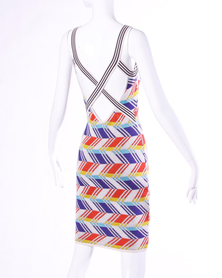 Women's Christian Lacroix Vintage Geometric Stretchy Striped Knit Body Con Dress For Sale