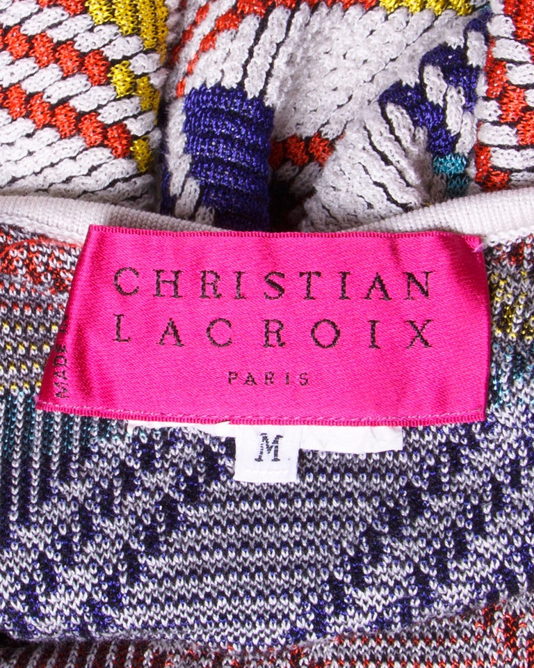 Christian Lacroix Vintage Geometric Stretchy Striped Knit Body Con Dress For Sale 1