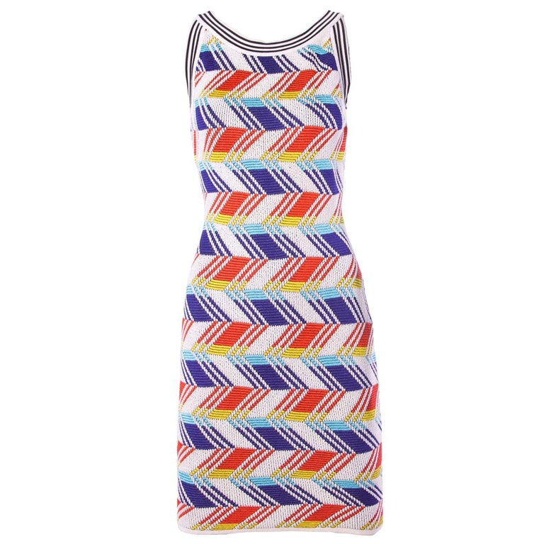 Christian Lacroix Vintage Geometric Stretchy Striped Knit Body Con Dress For Sale