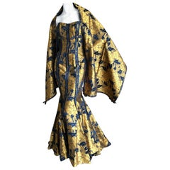 Christian Lacroix Vintage Gold Jacquard Floral Strapless Evening Dress w Shawl