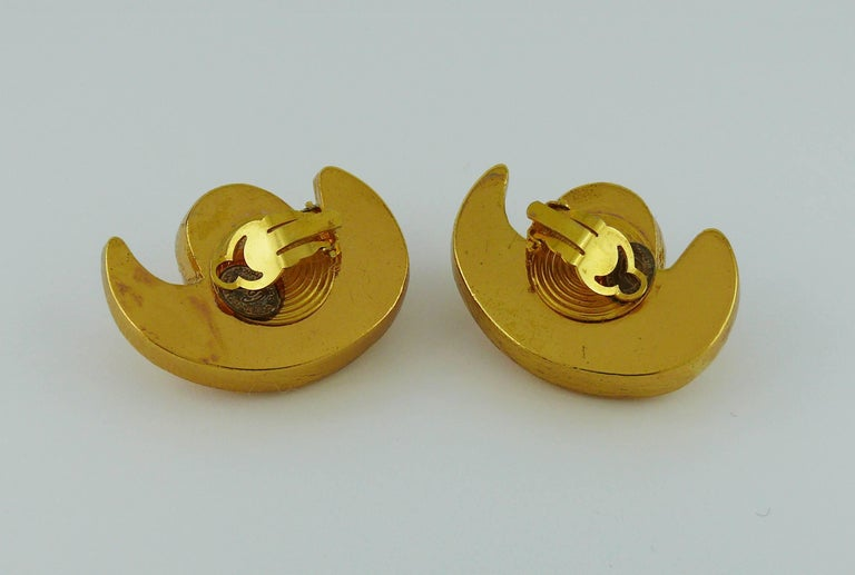 Christian Lacroix Vintage Gold Toned Abstract Crescent Clip-On Earrings For Sale 2