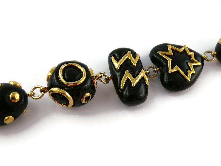 Christian Lacroix Vintage Gold Toned and Black Resin Links Necklace For Sale 6