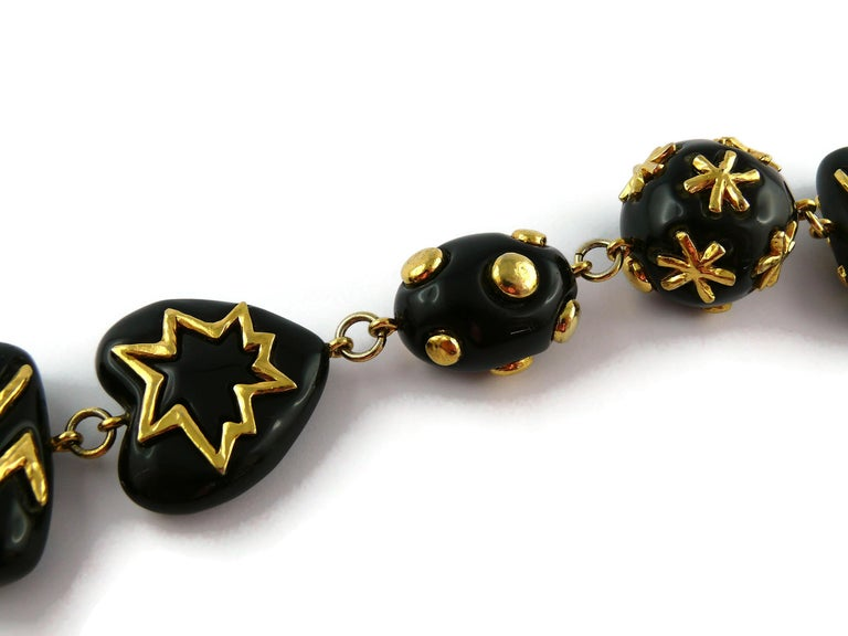 Christian Lacroix Vintage Gold Toned and Black Resin Links Necklace For Sale 7