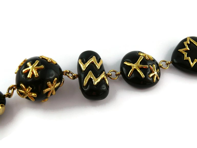 Christian Lacroix Vintage Gold Toned and Black Resin Links Necklace For Sale 8