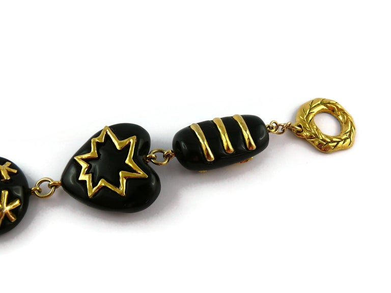 Christian Lacroix Vintage Gold Toned and Black Resin Links Necklace For Sale 9