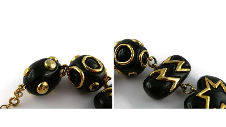 Christian Lacroix Vintage Gold Toned and Black Resin Links Necklace For Sale 11