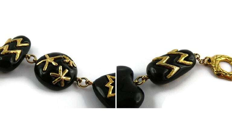 Christian Lacroix Vintage Gold Toned and Black Resin Links Necklace For Sale 13