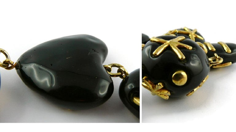 Christian Lacroix Vintage Gold Toned and Black Resin Links Necklace For Sale 15