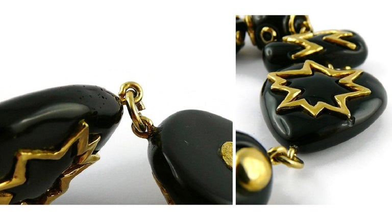 Christian Lacroix Vintage Gold Toned and Black Resin Links Necklace For Sale 16