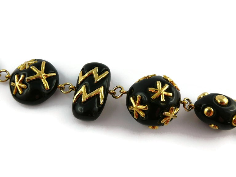 Women's Christian Lacroix Vintage Gold Toned and Black Resin Links Necklace For Sale