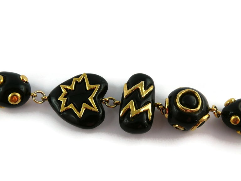 Christian Lacroix Vintage Gold Toned and Black Resin Links Necklace For Sale 2