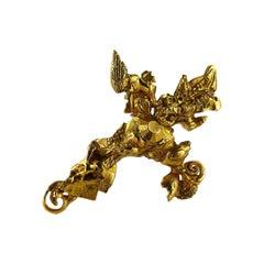 Christian Lacroix Vintage Gold Toned Brutalist Cross Brooch Pendant