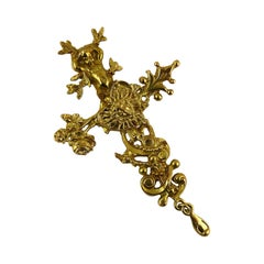 Christian Lacroix Vintage Gold Toned Comedie Francaise Pendant Brooch