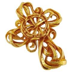 Christian Lacroix Vintage Gold Toned Cross Brooch Pendant