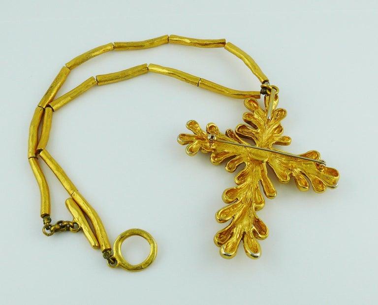 Christian Lacroix Vintage Gold Toned Cross Pendant Necklace For Sale 6