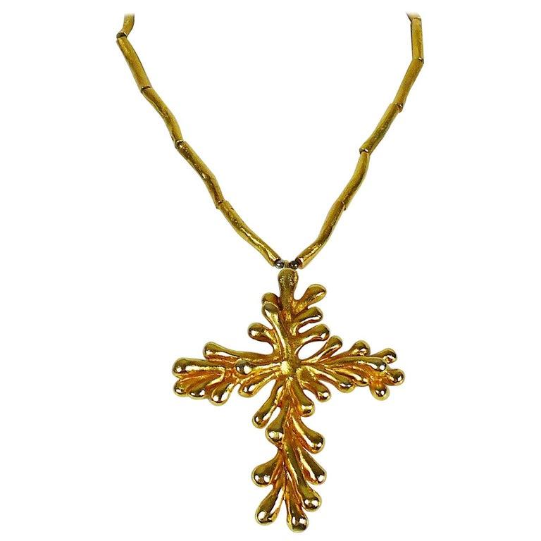 Christian Lacroix Vintage Gold Toned Cross Pendant Necklace For Sale