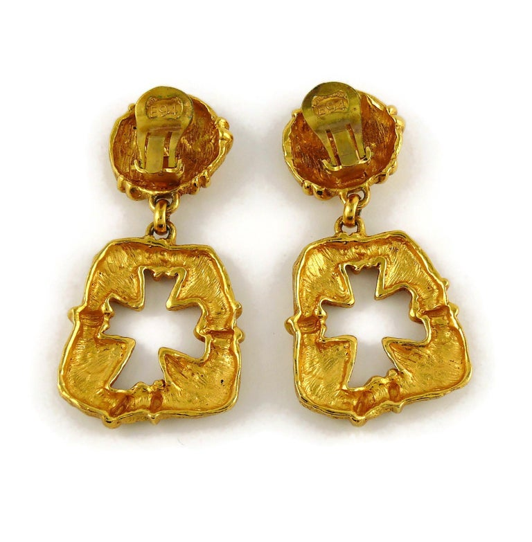 Christian Lacroix Vintage Gold Toned Cut Out Cross Dangling Earrings For Sale 3