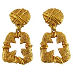 Christian Lacroix Vintage Gold Toned Cut Out Cross Dangling Earrings