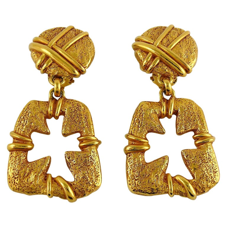 Christian Lacroix Vintage Gold Toned Cut Out Cross Dangling Earrings For Sale