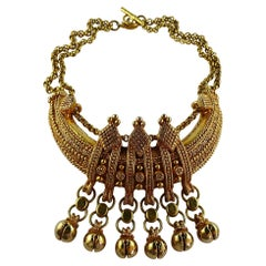 Christian Lacroix Vintage Gold Toned Etruscan Revival Plastron Necklace