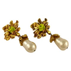 Christian Lacroix Vintage Gold Toned Flower Pearl Teardrop Dangling Earrings