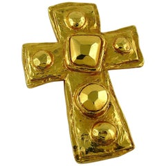 Christian Lacroix Vintage Gold Toned Hammered Cross Brooch Pendant