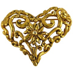 Christian Lacroix Vintage Gold Toned Heart Brooch