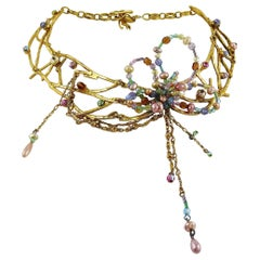 Christian Lacroix Vintage Gold Toned Jewelled Choker Necklace