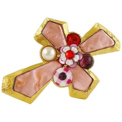 Christian Lacroix Vintage Gold Toned Jewelled Cross Brooch Pendant