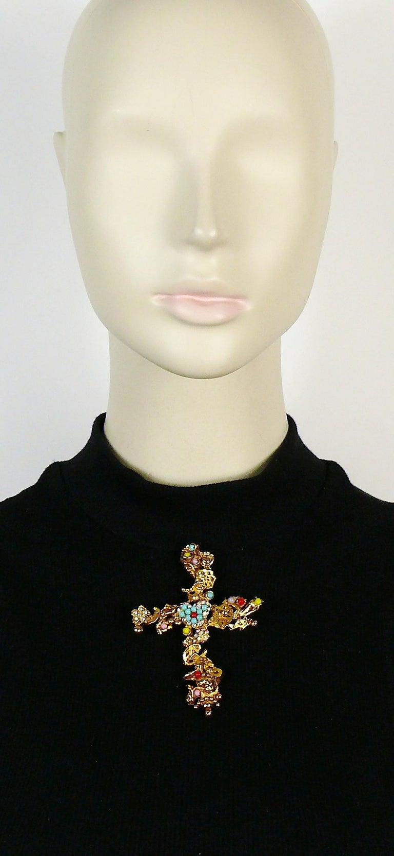 Christian Lacroix Vintage Gold Toned Jewelled Cross Pendant Necklace For Sale 6