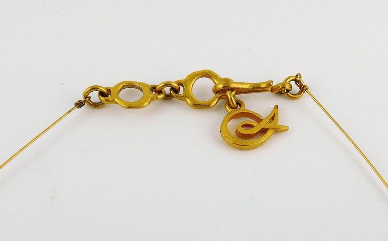 Christian Lacroix Vintage Gold Toned Jewelled Cross Pendant Necklace For Sale 4