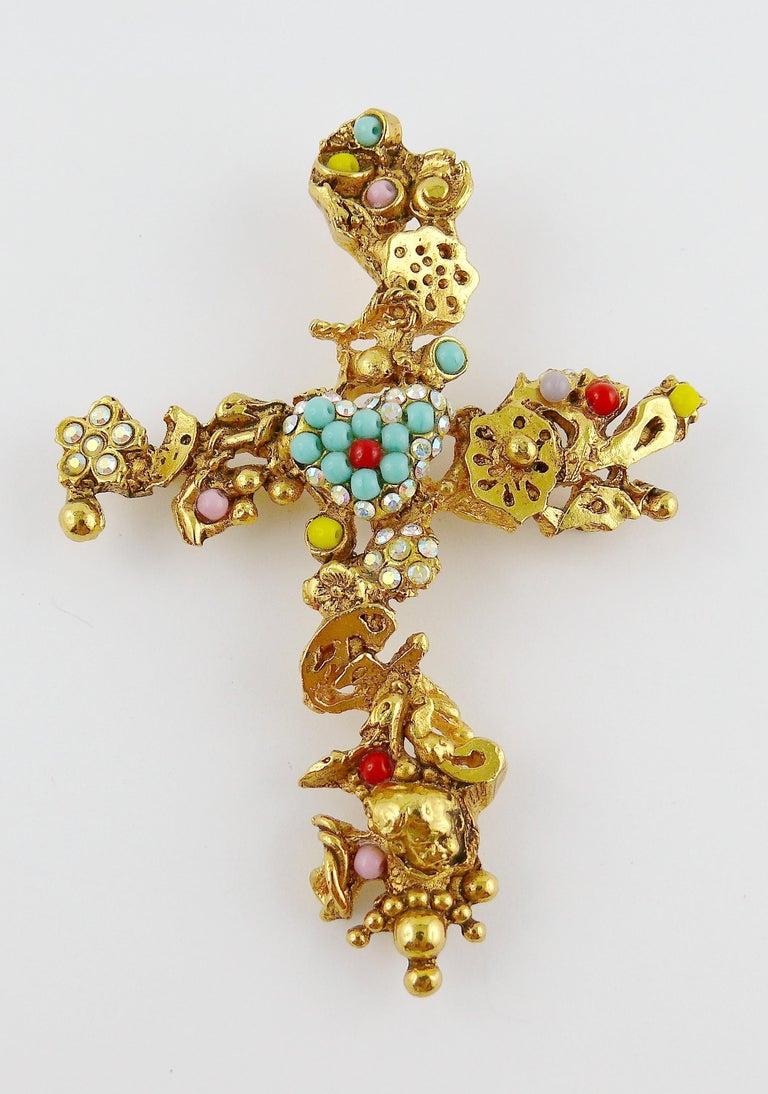 Christian Lacroix Vintage Gold Toned Jewelled Cross Pendant Necklace For Sale 5