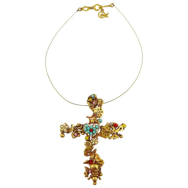 Christian Lacroix Vintage Gold Toned Jewelled Cross Pendant Necklace For Sale