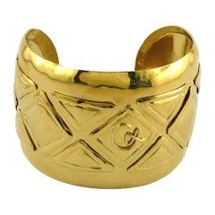 Christian Lacroix Vintage Gold Toned Logo Cuff Bracelet