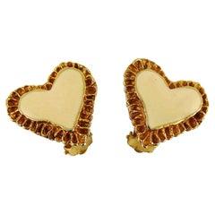 Christian Lacroix Vintage Gold Toned & Off White Enamel Heart Clip-On Earrings