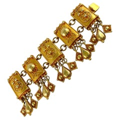 Christian Lacroix Vintage Gold Toned Oriental Inspired Cuff Bracelet