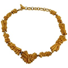 Christian Lacroix Vintage Gold Toned Ribbed Textured Bundle Necklace