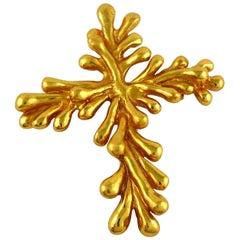 Christian Lacroix Vintage Gold Toned Splash Brooch Pendant