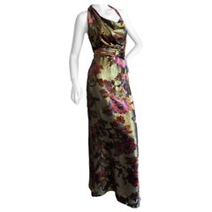 Christian Lacroix Vintage Gold Velvet Floral Print Evening Dress
