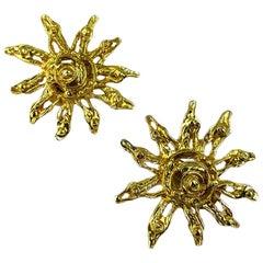 CHRISTIAN LACROIX Vintage Golden Sun Clip Earrings